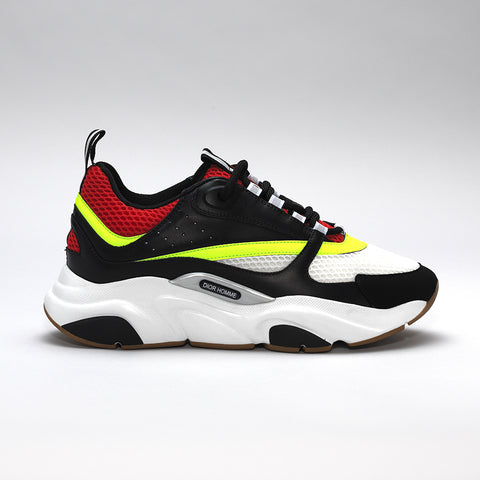 DIOR B22 CALFSKIN TRAINER BLACK/RED/YELLOW