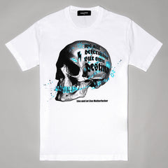 DSQUARED2 GRAPHIC SKULL PRINT T-SHIRT WHITE