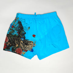 DSQUARED2 FLORAL PRINT SWIM SHORTS BLUE