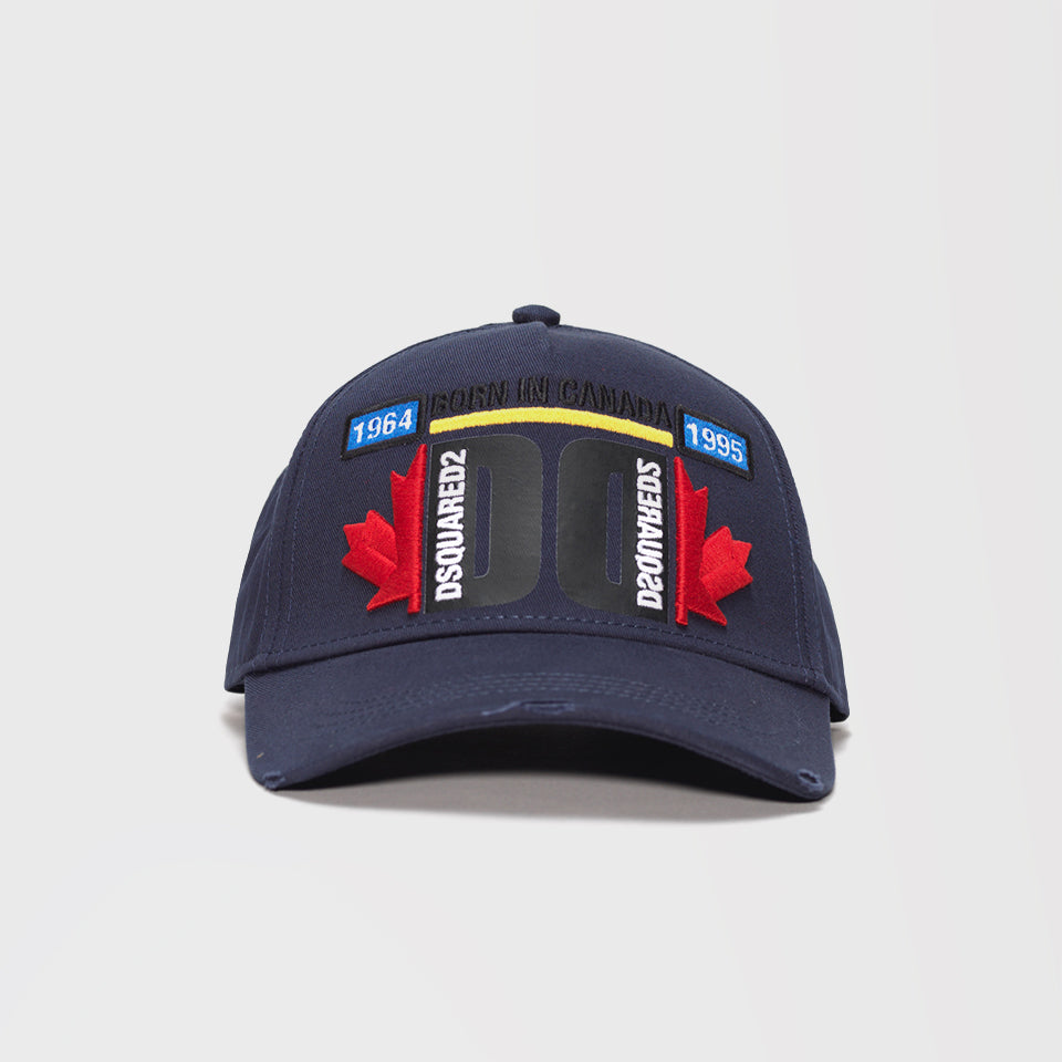 DSQUARED2 EMBROIDERED BASEBALL CAP DARK BLUE