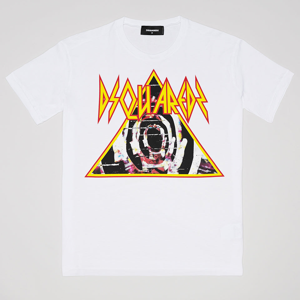 DSQUARED2 PYRAMID LOGO T-SHIRT WHITE