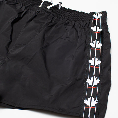 DSQUARED2 MAPLE LEAF SWIM SHORTS BLACK