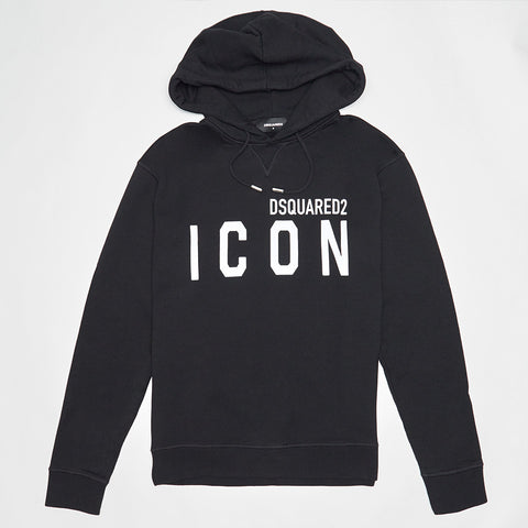 DSQUARED2 WHITE ICON PRINT HOODED SWEATSHIRT BLACK