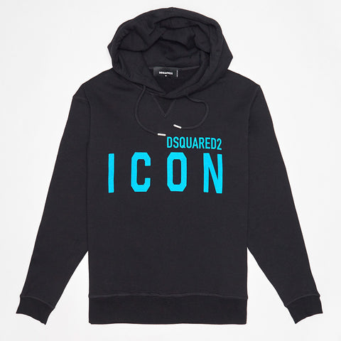 DSQUARED2 BLUE ICON PRINT HOODED SWEATSHIRT BLACK