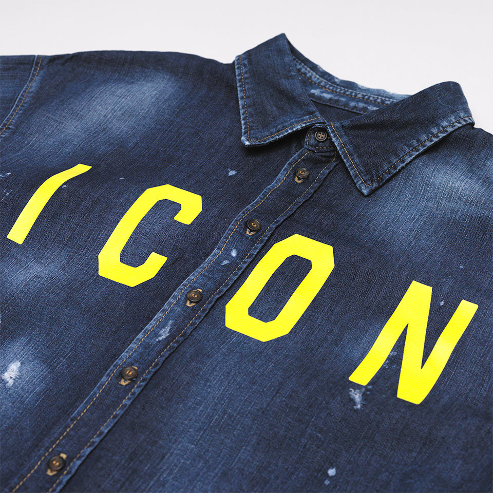DSQUARED2 ICON PRINT DENIM SHIRT