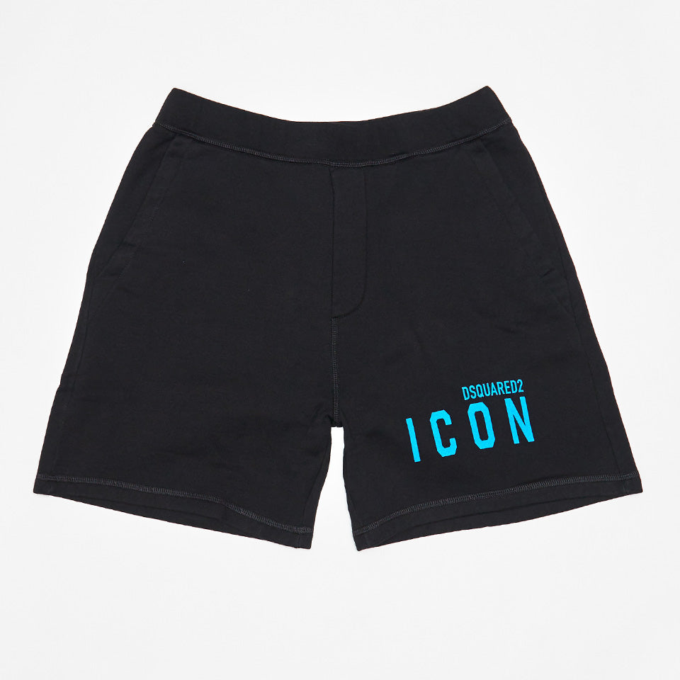 DSQUARED2 BLUE ICON PRINT SWEAT SHORTS BLACK