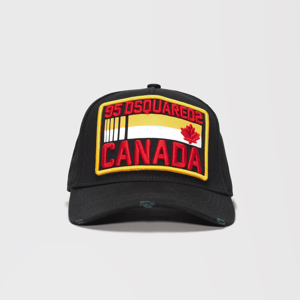 DSQUARED2 CANADA EMBROIDERED BASEBALL CAP BLACK