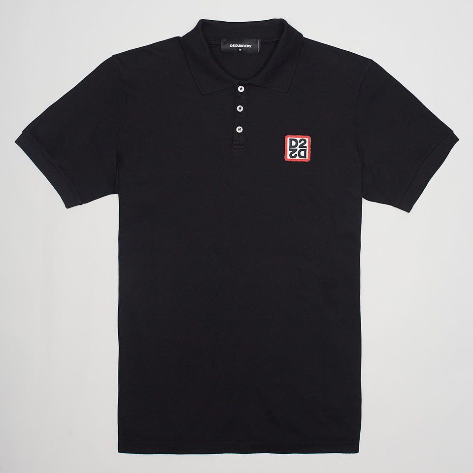 DSQUARED2 MIRRORED D2 POLO SHIRT BLACK