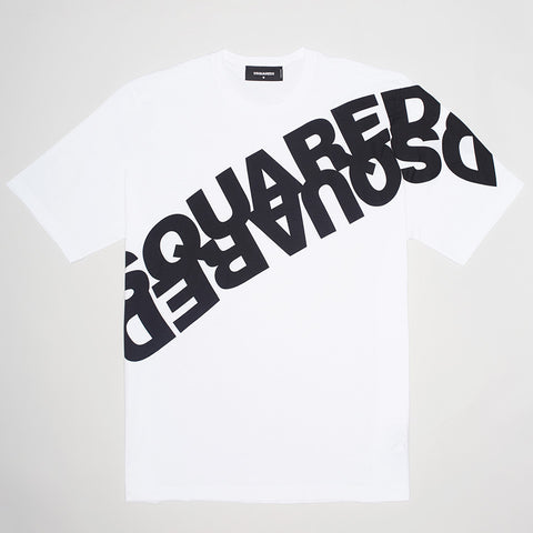 DSQUARED2 MIRRORED LOGO T-SHIRT WHITE