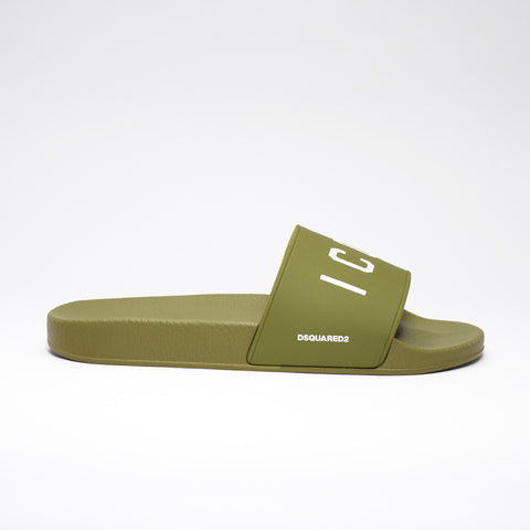 DSQUARED2 ICON POOL SLIDES MILITARY GREEN