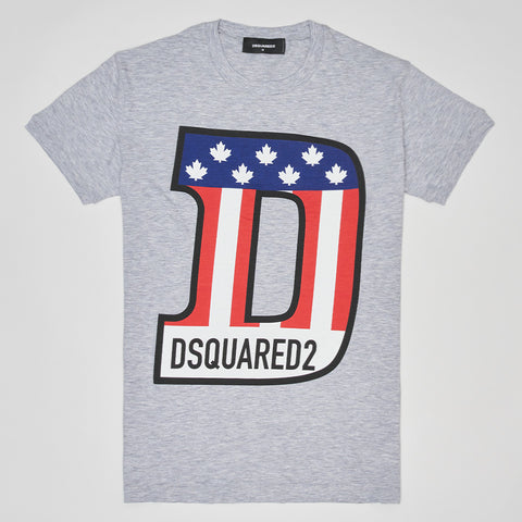 DSQUARED2 FLAG T SHIRT GREY