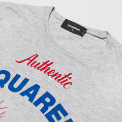 DSQUARED2 LOGO DISTRESSED EFFECT T-SHIRT GREY