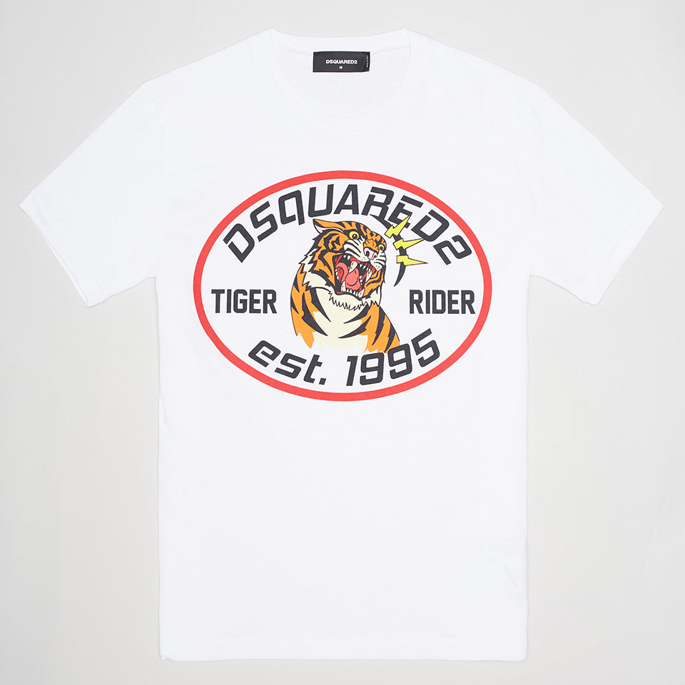 DSQUARED2 TIGER RIDER T-SHIRT WHITE