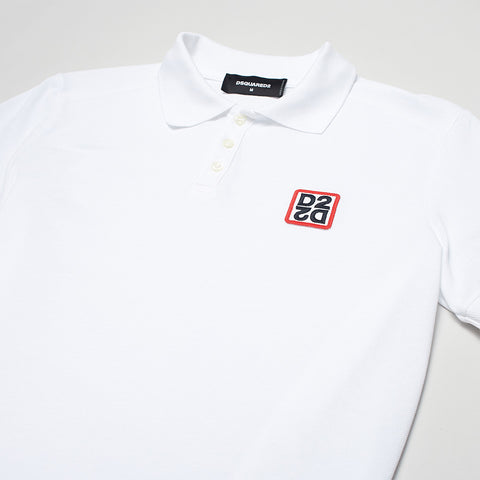 DSQUARED2 MIRRORED D2 POLO SHIRT WHITE