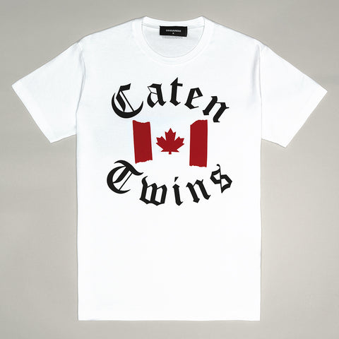 DSQUARED2 CATEN TWINS FLAG T-SHIRT WHITE