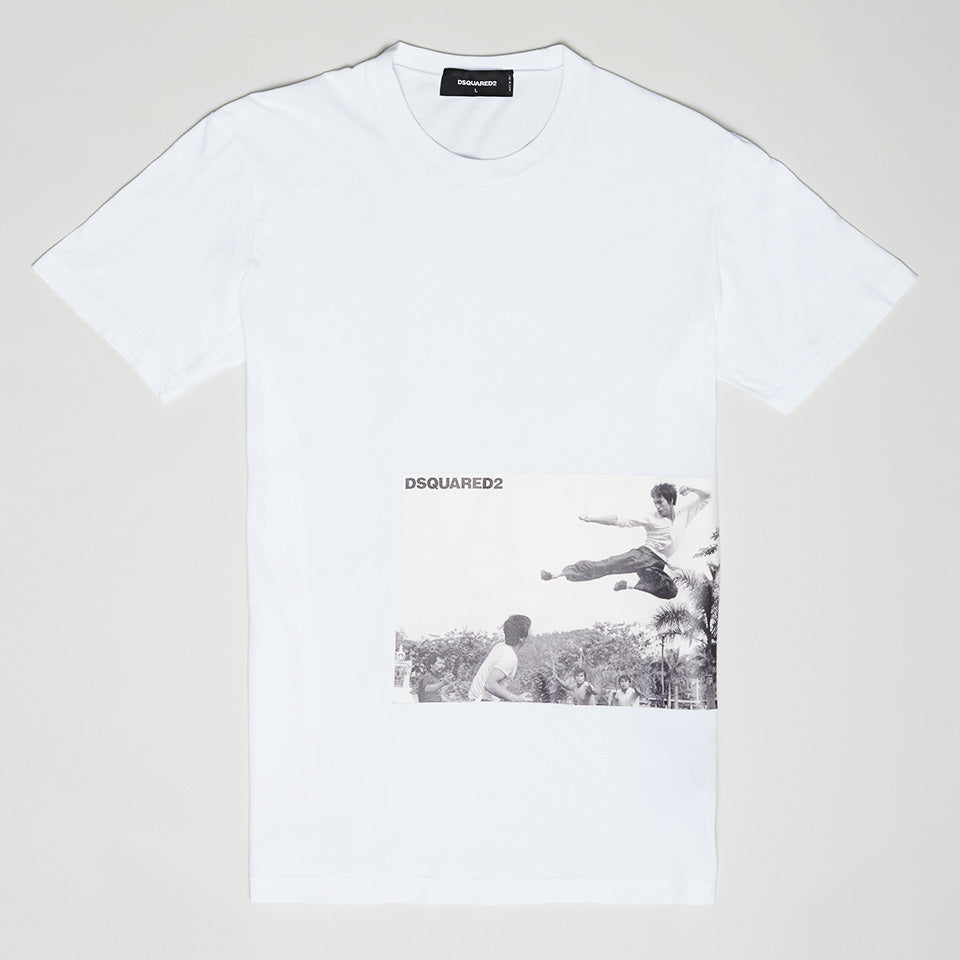 DSQUARED2 BRUCE LEE PRINTED T-SHIRT WHITE/BLACK