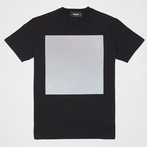 DSQUARED2 LOGO STRIPPED SQUARE T-SHIRT BLACK