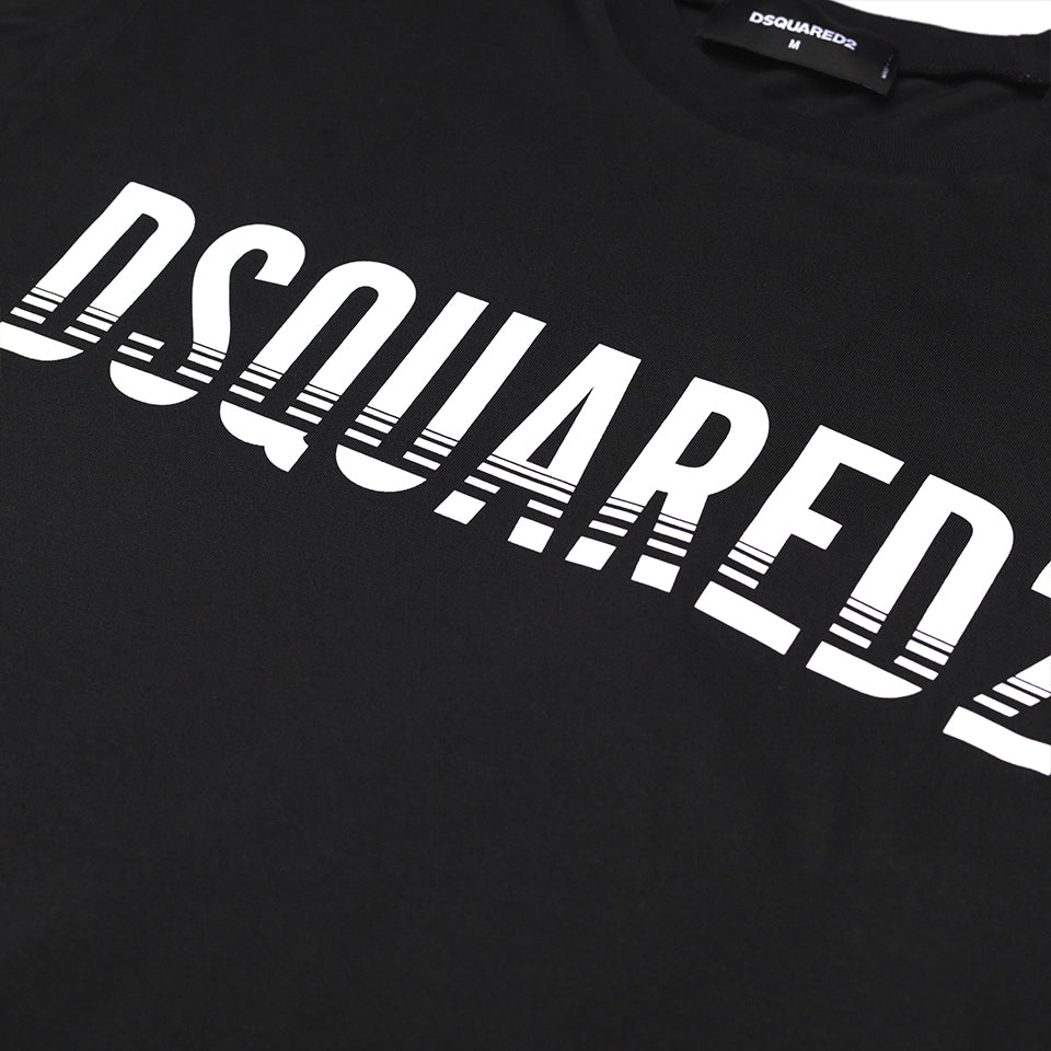DSQUARED2 LOGO PRINT T-SHIRT BLACK
