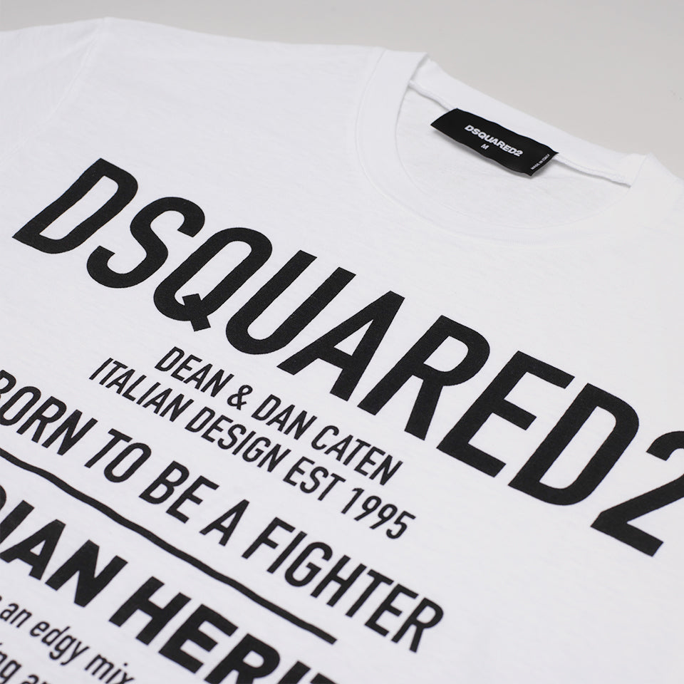 DSQUARED2 BORN TO BE A FIGHTER T-SHIRT WHITE
