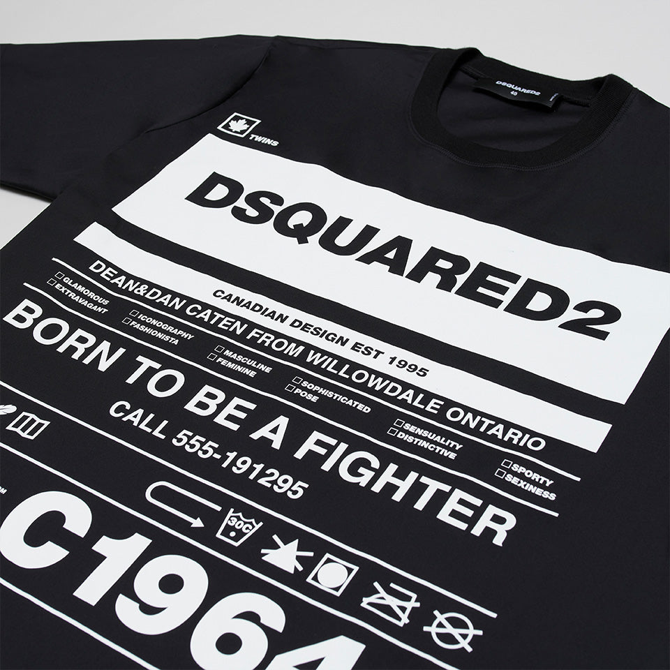 DSQUARED2 BORN TO BE A FIGHTER STRETCH T-SHIRT BLACK