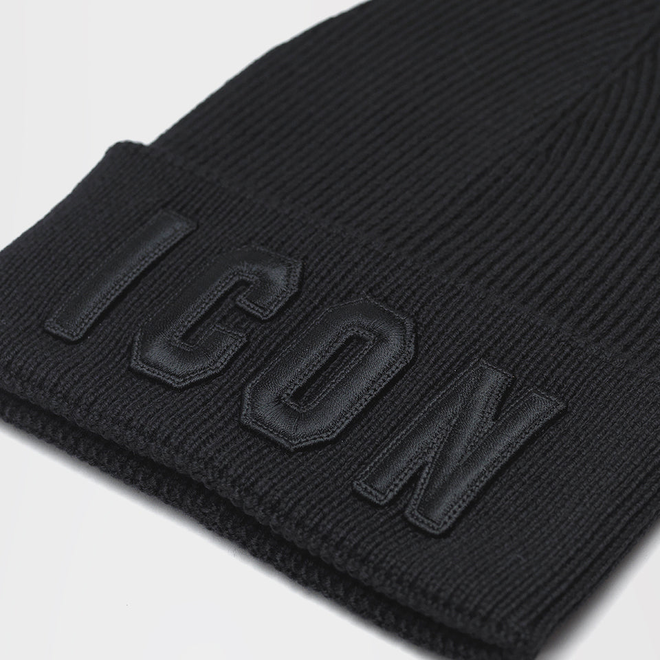 DSQUARED2 ICON SLOGAN THIN BEANIE BLACK/BLACK