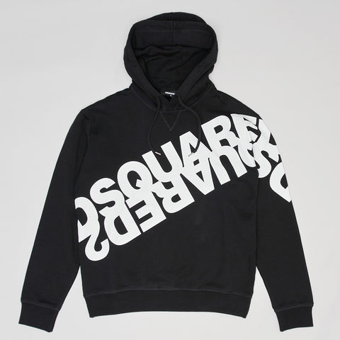DSQUARED2 MIRRORED LOGO HOODIE BLACK