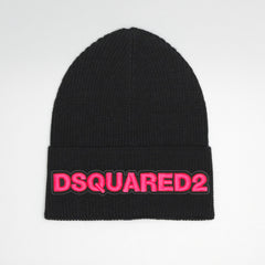 DSQUARED2 THIN BEANIE WITH DSQUARED2 PINK EMBROIDERY BLACK