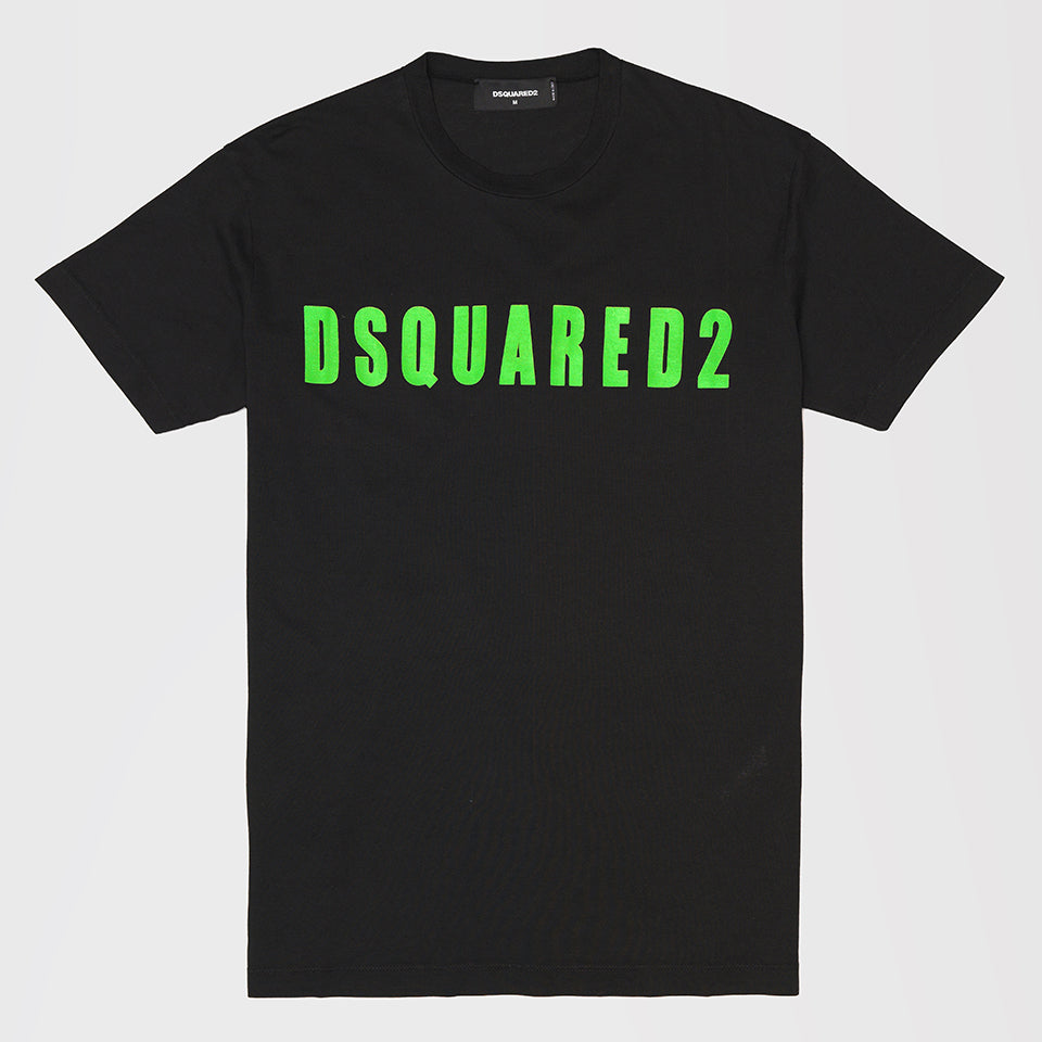 DSQUARED2 TSHIRT GREEN DSQUARED2 PRINT BLACK