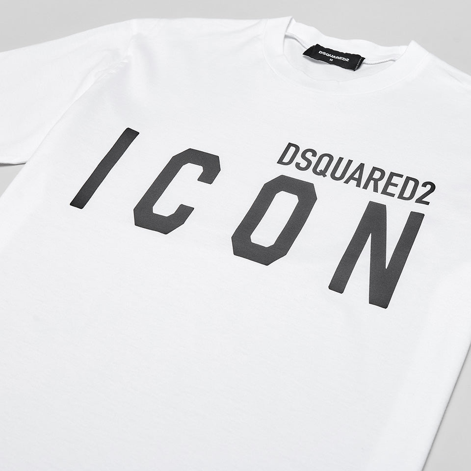 DSQUARED2 ICON BLACK LOGO T-SHIRT WHITE