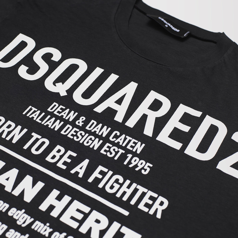DSQUARED2 BORN TO BE A FIGHTER T-SHIRT BLACK