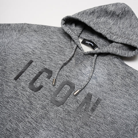 DSQUARED2 BLACK ICON PRINT HOODIE GREY