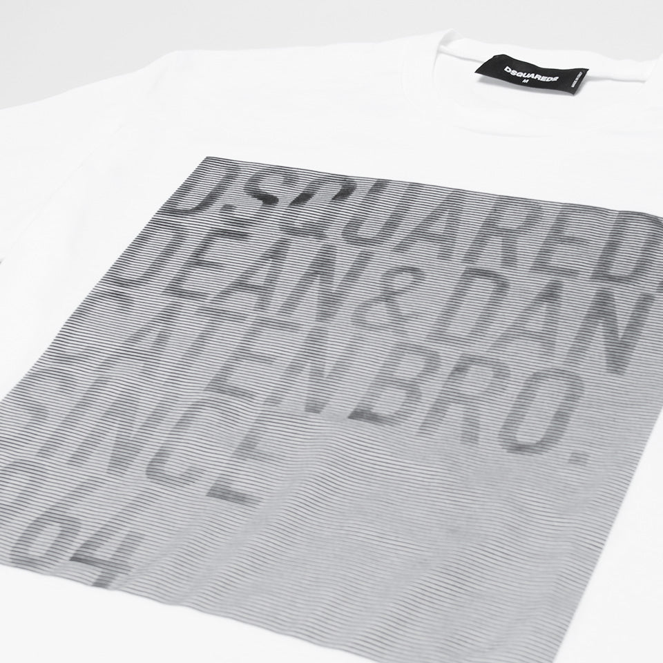 DSQUARED2 LOGO STRIPPED SQUARE T-SHIRT WHITE