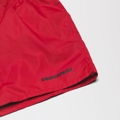 DSQUARED2 BLACK ICON PRINT SWIM SHORTS RED