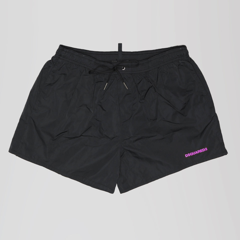 DSQUARED2 PINK ICON PRINT SWIM SHORTS BLACK