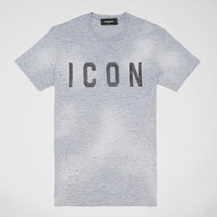 DSQUARED2 ICON PRINT DISTRESSED T-SHIRT GREY