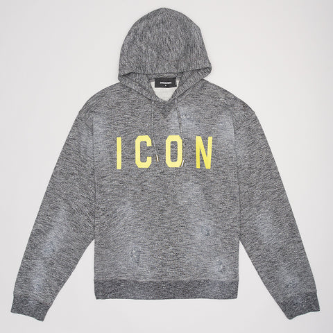 DSQUARED2 YELLOW ICON PRINT HOODIE GREY