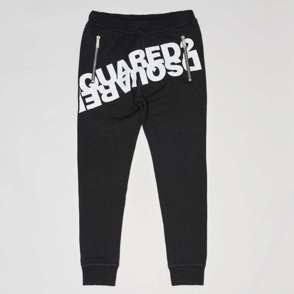 DSQUARED2 MIRRORED LOGO JOGGERS BLACK