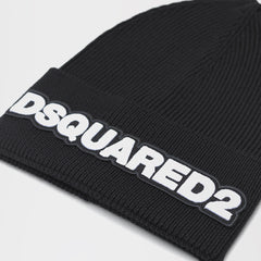 DSQUARED2 THIN BEANIE WITH WHITE DSQUARED2 EMBROIDERY BLACK