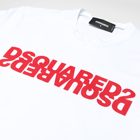 DSQUARED2 RED DOUBLE LOGO T-SHIRT WHITE