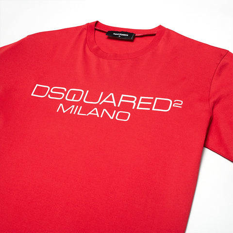 DSQUARED2 MILANO CONTRASTING LOGO T-SHIRT RED