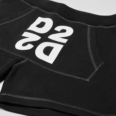 DSQUARED2 MIRRORED D2 SWEAT SHORTS BLACK