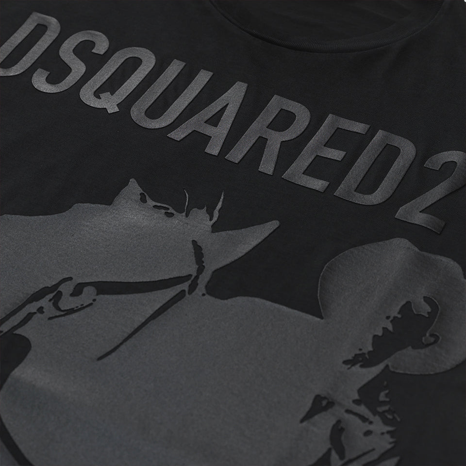 DSQUARED2 WET LOOK LOGO PRINT T-SHIRT BLACK