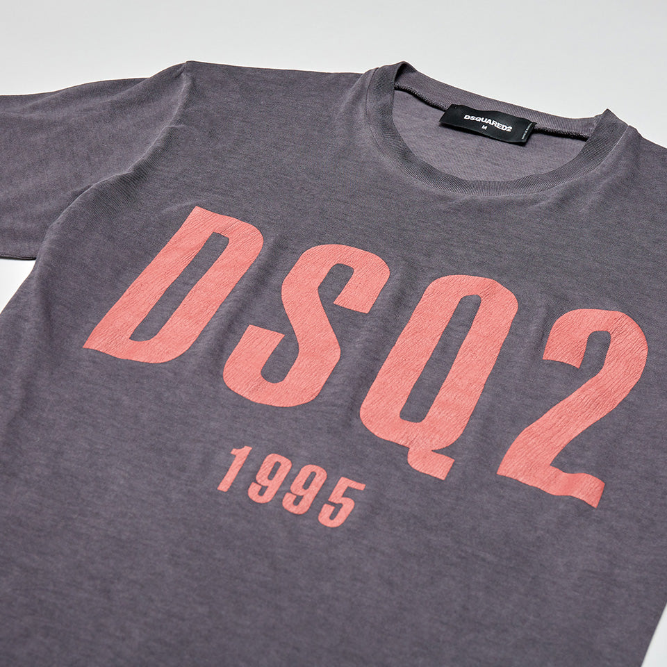 DSQUARED2 DSQ2 CRACKED PAINT LOGO T-SHIRT STEEL GREY