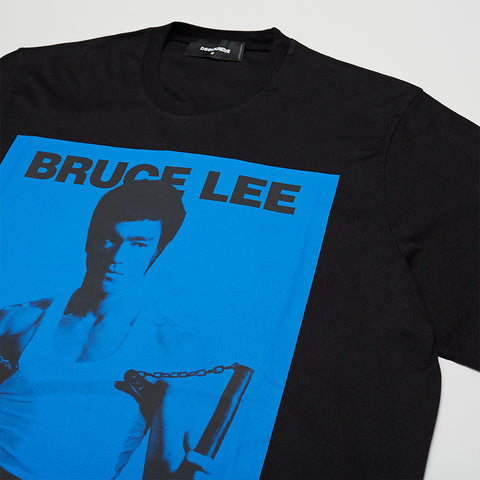 DSQUARED2 BRUCE LEE PRINTED T-SHIRT BLACK/BLUE