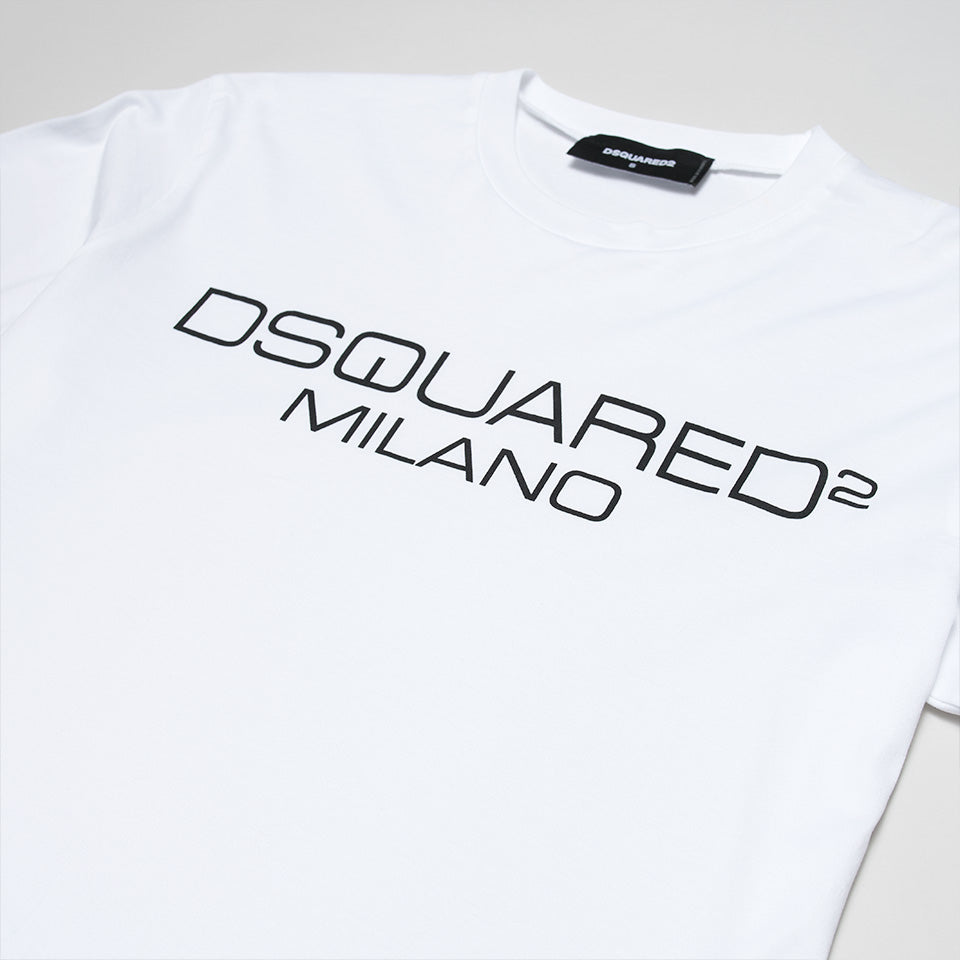 DSQUARED2 MILANO CONTRASTING LOGO T-SHIRT WHITE