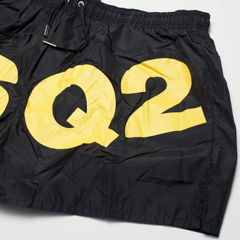 DSQUARED2 DSQ2 PRINT SWIM SHORTS BLACK/YELLOW