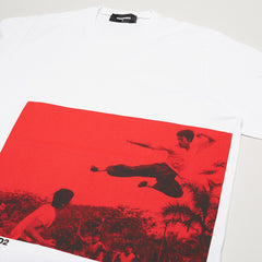 DSQUARED2 BRUCE LEE PRINTED T-SHIRT WHITE/RED