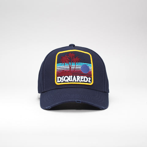 DSQUARED2 SUNSET PATCH BASEBALL CAP BLUE