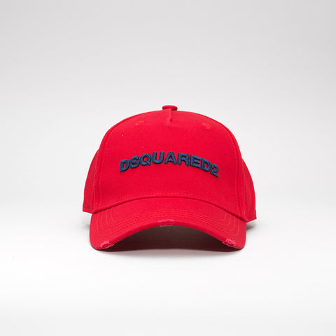 DSQUARED2 LOGO EMBROIDERED BASEBALL CAP RED