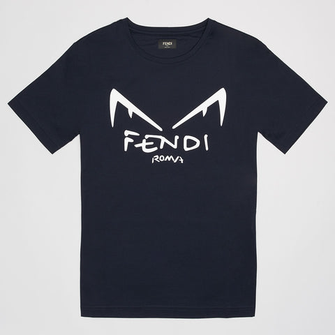 FENDI DIABOLIC EYES T-SHIRT BLUE